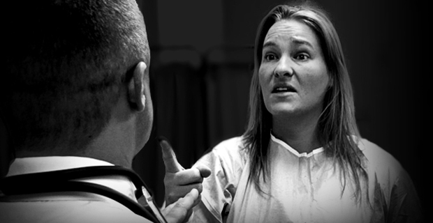 conflict management courses aggressive female pointing at doctor
